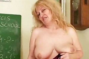well-endowed wifey teacher fucks herself plus a