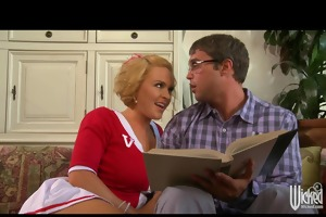 breasty college cheerleader fucked anal by nerd