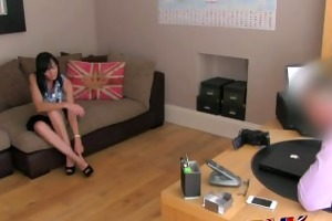 fakeagentuk messy talking milf takes it in one as