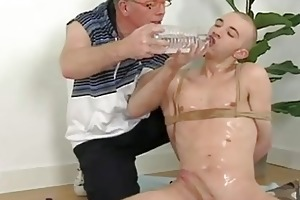 amoral old man and tied bald twink