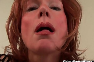 sultry senior lady is toying her rock hard pussy