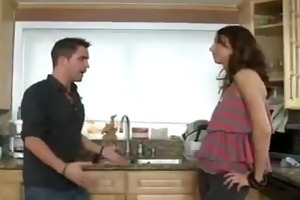 son fucks his dads hot girlfriend in the kitchen