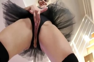 golden-haired petite ballet girls fingers clit