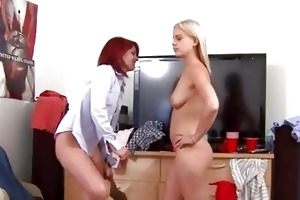 two youthful bisexual gals gagging dick