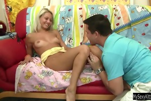 golden-haired teen sabrina gets drilled