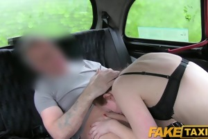 faketaxi brunette student take sex for cash