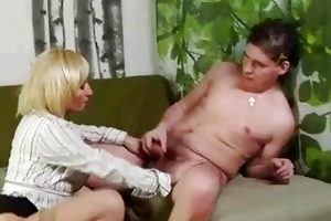 mature blonde pussy rub and sucks younger lad