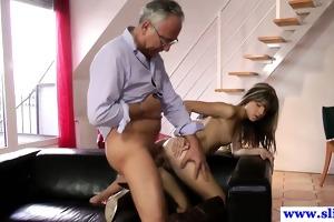 young european slut copulates old mans dick
