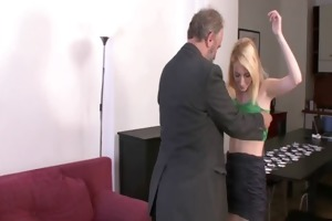 she gets punished and drilled by geezer