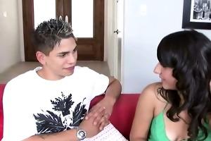 juvenile brunette giving her boyfriend oral