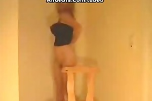 hawt blonde stripping and fucking on the chair