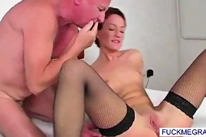 bald grandad copulates juicy pussy
