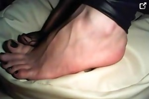 znamcieona shows her young feet in lace socks and