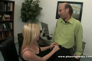 blonde slut tegan fucks her old hory boss to keep