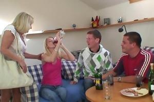 partying guys screw drunk golden-haired granny