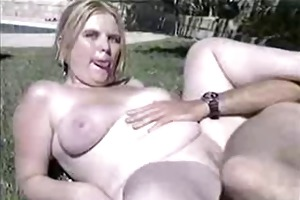 youthful blond bbw fucked by the pool