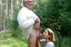 juvenile girl helping an old guy wi...