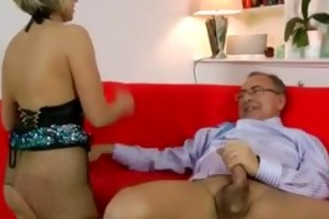 blonde in fishnet nylons fucks old fellow