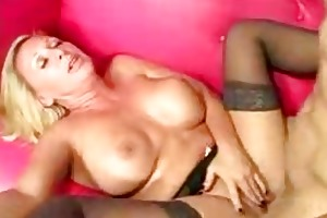 pounder starved old blonde sucks a young cock dry