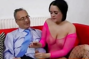 big titted british brunette screwed by old man