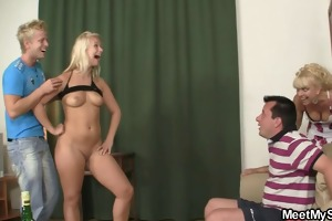 his perverted parents lure her into threesome