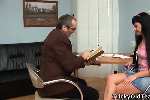 dark haired slut pleases old geek.