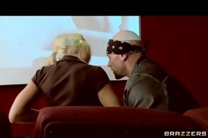 big-tit squirting blonde harassed in porn cinema