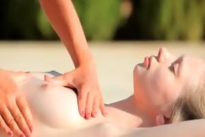 cutie acquires massaged at pool