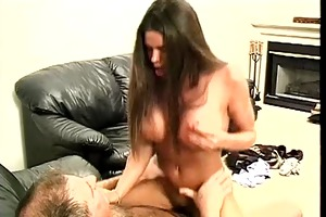 long haired brunette gal gets undressed and sucks