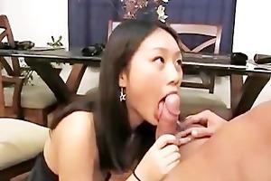 slutty youthful asian abe engulfing schlong and