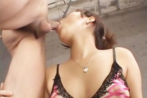 japanese babe in slutty underware gets eaten out