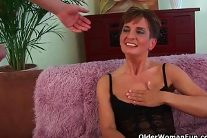 soccer mamma in black stockings gets drilled hard