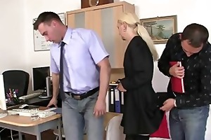 she is pleases two dicks at job interview