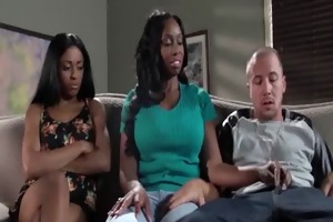 hot darksome mother i and her stepdaught fuck a