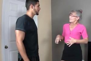 lascivious granny sucks a juvenile dick