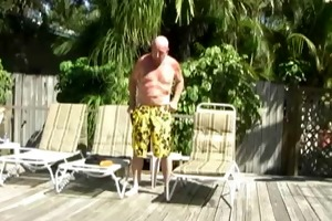dad chuck plays with himself and three-some sun