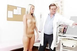 old doctor checks juvenile blonde girl venus twat