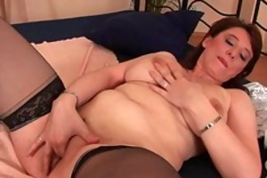 busty older woman unloads a schlong in her face