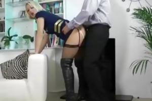blonde in leather boots sucks older man