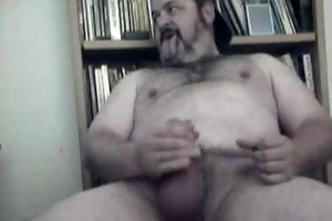 curly large daddy bear jerking it
