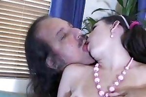 dark brown babe dusts off old cock as she is
