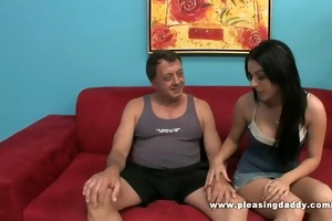 favourable old bastard receives a blowjob from