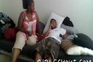 obese black mama gets a younger dude to blow and