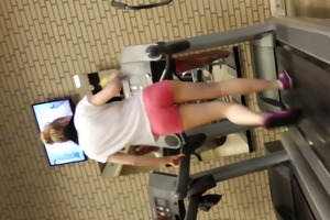 sexy blond hotty on threadmill running with thong