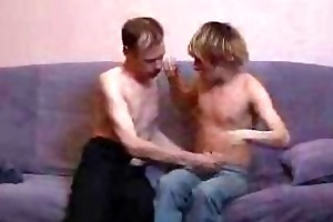 mature gay dad and twink stripping and kissing on