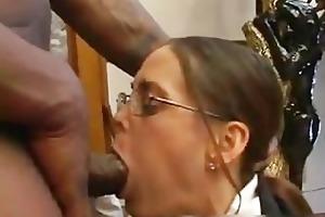 hot milf in glasses deepthroating black part3