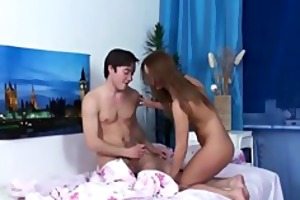 horny teen swingers party on a bed